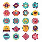 Shopping Badge Banner Flat Design Background Set