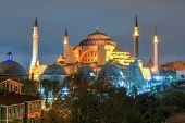 Hagia Sofia At Night In Istanbul, Turkey