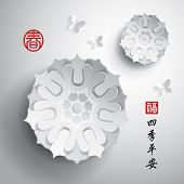 Chinese New Year. Vector Paper Graphic of Blossom. Translation of Stamp: Blesssing, Spring. Translation of Calligraphy: Peaceful seasons.