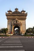 Patuxai Gate in Thannon Lanxing area of Vientiane