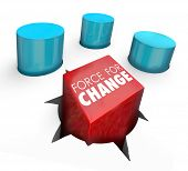 Force for Change words on a square peg pushed into a round hole as someone who innovates, improve or increases results or output of a job, task, project or problem solution