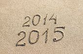 New Year 2015 Season Is Coming Instead 2014 Concept At Beach Sand
