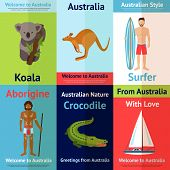 stock photo of crocodiles  - Australia mini poster set with koala surfer crocodile isolated vector illustration - JPG