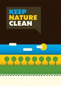 Minimalistic ecology poster in color. Vector illustration.