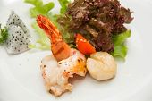 foto of tiger prawn  - Tiger shrimp prawns with fresh lettuce in plate - JPG