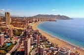 aerial view of Benidorm, in Spain, with its towering skyscrapers