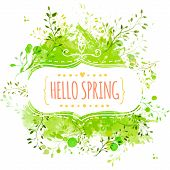 foto of tree leaves  - Decorative frame with text hello spring - JPG