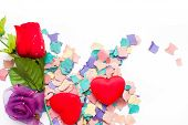Flowers, hearts and confetti