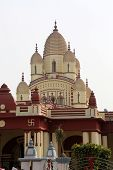 KOLKATA, INDIA - FEBRUARY 14, 2014: Hindu temple Dakshineswar Kali Temple. Kali temple was built in nine spires style of Bengal architecture, in 1855.
