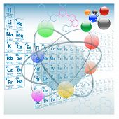 stock photo of periodic table elements  - Atomic elements periodic table atoms molecules chemistry design - JPG