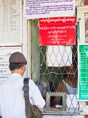 Ticket Counter At Railway Station In Yangon, Myanmar