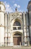 foto of martha  - Architectural detail of the facade of the Roman Catholic Cathedral located in Santa ClaraCuba which name is Santa Clara de Asis or Saint Claire of Assisi - JPG