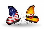 Two Butterflies With Flags On Wings As Symbol Of Relations Usa And Brunei