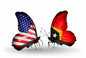 Two Butterflies With Flags On Wings As Symbol Of Relations Usa And East Timor