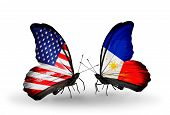 Two Butterflies With Flags On Wings As Symbol Of Relations Usa And Philippines