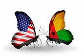 Two Butterflies With Flags On Wings As Symbol Of Relations Usa And Guinea-bissau
