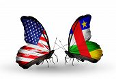 Two Butterflies With Flags On Wings As Symbol Of Relations Usa And Central African Republic