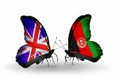 Two Butterflies With Flags On Wings As Symbol Of Relations Uk And Afghanistan