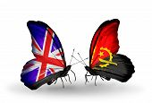 Two Butterflies With Flags On Wings As Symbol Of Relations Uk And Angola