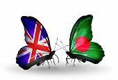 Two Butterflies With Flags On Wings As Symbol Of Relations Uk And Bangladesh
