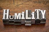 humility word in mixed vintage metal type printing blocks over grunge wood
