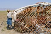 Mongolian men assemble yurt in steppe, circa Harhorin, Mongolia.
