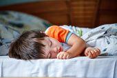 foto of cute innocent  - Cute little boy sleeping in a bed - JPG