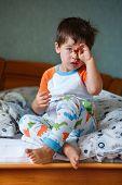 Cute little boy in pajamas
