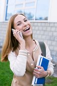 Student With Phone And Laughing