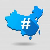 image of hash  - Illustration of a China map icon with a hash tag - JPG