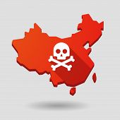 China Map Icon With A Skull