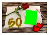 Red rose, hearts and blank card on wooden table, birthday concept
