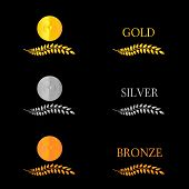 stock photo of medal  - Winning laurel wreaths with competition medals 4 - JPG