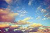 foto of cloudy  - Colorful cloudy sky toned effect photo background - JPG