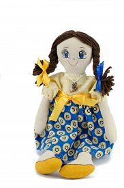 picture of rag-doll  - Rag doll dressed in patriotic ukrainian colours - JPG
