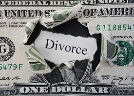 pic of divorce-papers  - Hole ripped in a dollar bill with Divorce text - JPG