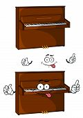 pic of tease  - Teasing cartoon  brown piano character isolated on white background for performance or music design - JPG