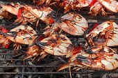 image of bbq party  - Skewered Big Shrimps On The Hot BBQ Grill In The Background - JPG