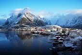 image of reining  - snow in Reine Village - JPG