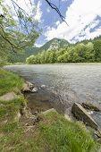 stock photo of pieniny  - Dunajec River in Pieniny Mountains in distance Trzy korony and Facimiech - JPG