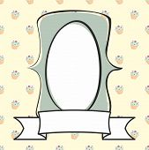 image of mint-green  - Hand drawn mint green vector empty frame on sweet cake background - JPG