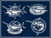 stock photo of swordfish  - Vintage swordfish fishing emblems - JPG