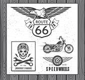 stock photo of chopper  - Set of vintage motorcycle labels - JPG