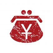 picture of yen  - Red grunge yen purse logo on a white background - JPG
