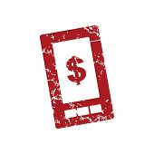 stock photo of tariff  - Red grunge dollar phone logo on a white background - JPG