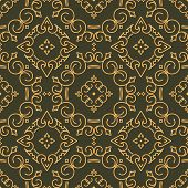 foto of gamma  - Rich decorated calligraphic outlined stroke seamless pattern in dark and gold gamma - JPG