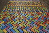stock photo of street-art  - Street art : colored pavement in a pedestrian street ** Note: Soft Focus at 100%, best at smaller sizes - JPG
