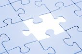 image of jigsaw  - Jigsaw piece blue toned Jigsaw and puzzles concepts - JPG