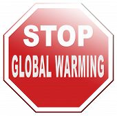 stock photo of global-warming  - stop global warming use renuwable energy go green with solar ond wind power no climate change - JPG