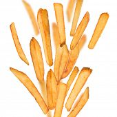 stock photo of freezing  - French fries in freeze motion isolated on white - JPG